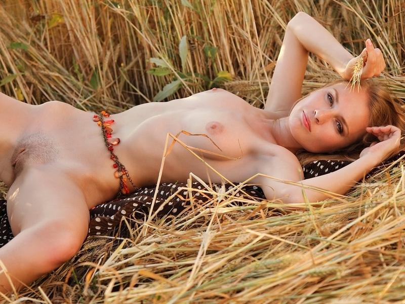девушка, природа, поле, трава